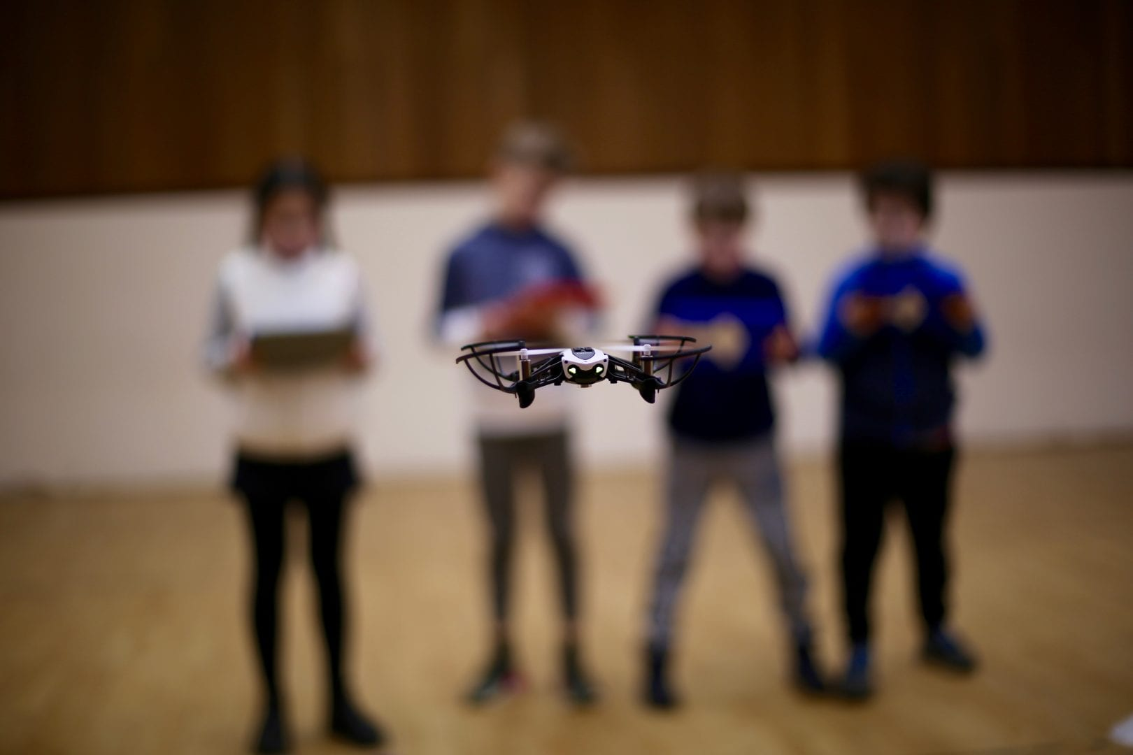 Hampstead campus enjoy playing with a drone